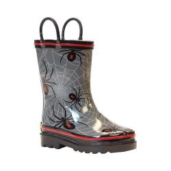 Boys' Western Chief Spider Web Crawl Rain Boot Charcoal