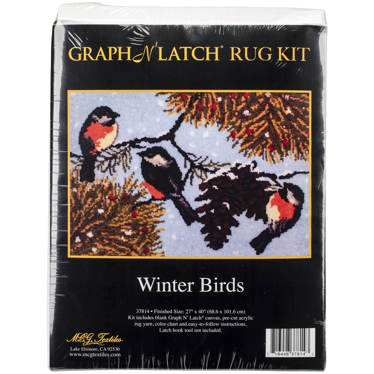 "Latch Hook Kit 40""X27""-Winter Birds"