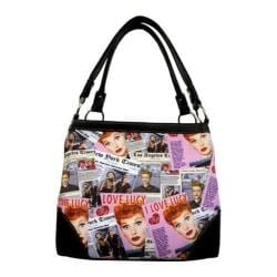Women's I Love Lucy Signature Product I Love Lucy Collage Medium Tote LU613 Black