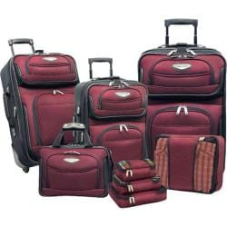 Traveler's Choice Amsterdam II 8-Piece Luggage Set Burgundy