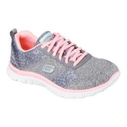 Women's Skechers Flex Appeal Training Shoe Charcoal/Pink