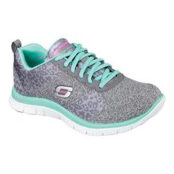 Women's Skechers Flex Appeal Training Shoe Charcoal/Turquoise