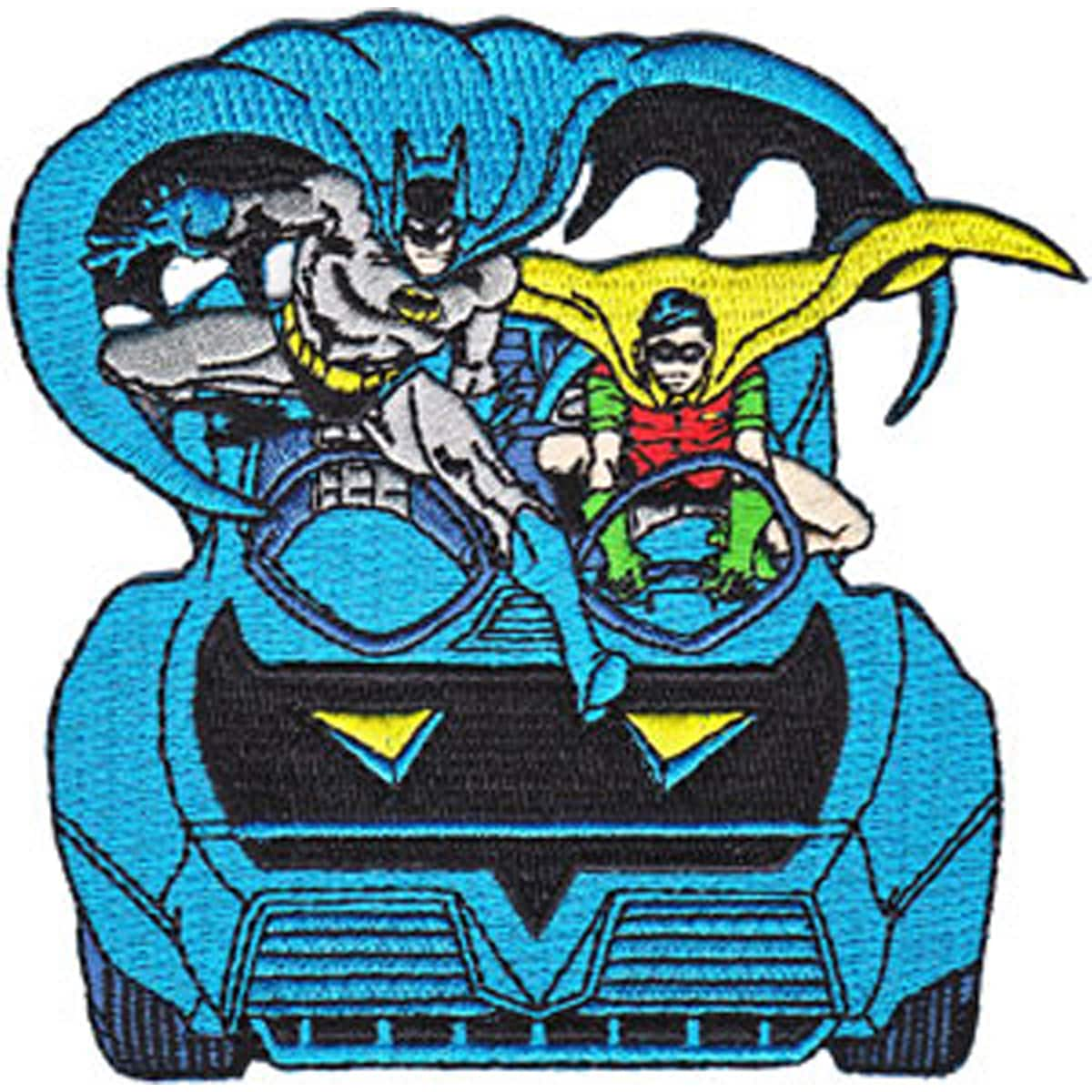 DC Comics PatchBatman & Robin In Batmobile 3.75inX3.75in