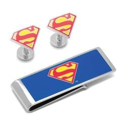 Men's Cufflinks Inc Superman Shield Cufflinks Money Clip Gift Set Red