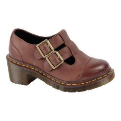 Women's Dr. Martens Ivy Double Strap T-Bar Dark Brown Polished Wyoming