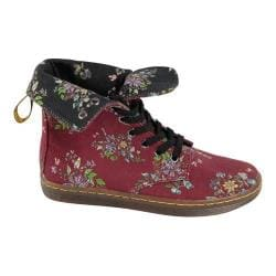 Women's Dr. Martens Stratford 9-Eye Fold Down Boot Cherry Red Belladonna Fine Canvas