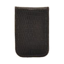 Men's Budd Leather Lizard Printed Calf Magnetic Money Clip 3101 Black