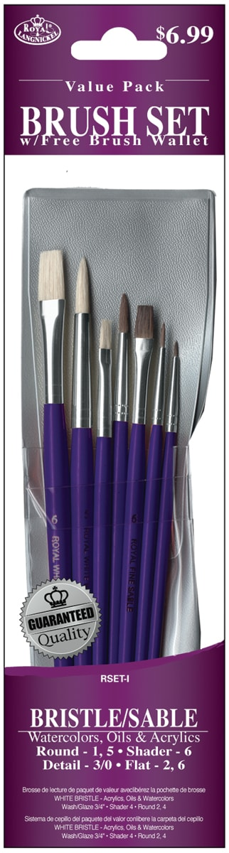 Bristle/Sable Value Pack Brush Set7/Pkg