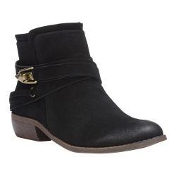 Women's Fergalicious Midas Ankle Boot Black Faux Suede