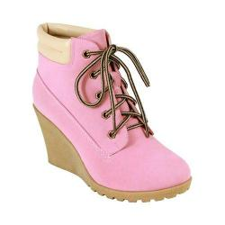 Women's Reneeze Cherry-3 Wedge Boot Pink Synthetic