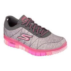 Women's Skechers GO FLEX Walk Ability Sneaker Gray/Hot Pink