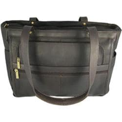 David King Leather 148 Womens Multipocket Briefcase Cafe