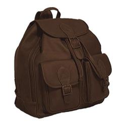 David King Leather 314 Double Front Pocket Backpack Cafe