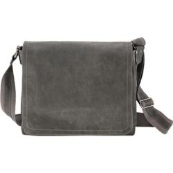 David King Leather 6152 East/West Messenger Distressed Grey