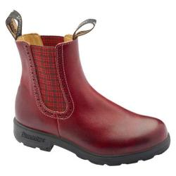 Women's Blundstone Original Series Boot Burgundy Rub Leather/Red Tartan Elastic