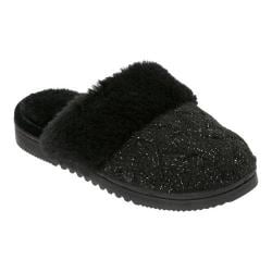 Women's Dearfoams Lurex Basketweave Knit Closed Toe Scuff Slipper Black