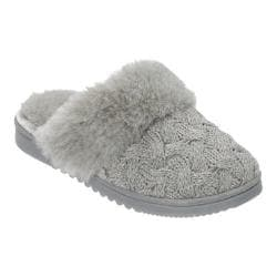 Women's Dearfoams Lurex Basketweave Knit Closed Toe Scuff Slipper Light Heather Grey