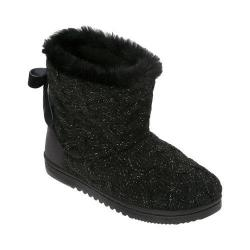 Women's Dearfoams Lurex Basketweave Tie-Back Boot Black
