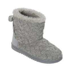 Women's Dearfoams Lurex Basketweave Tie-Back Boot Light Heather Grey
