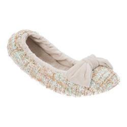 Women's Dearfoams Sequined Tweed Ballerina Slipper Champagne