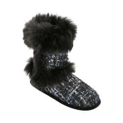 Women's Dearfoams Sequined Tweed Boot Slipper Black
