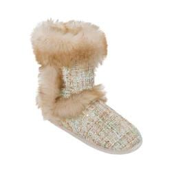 Women's Dearfoams Sequined Tweed Boot Slipper Champagne