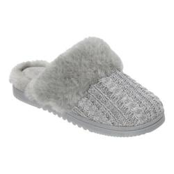 Women's Dearfoams Marled Cable Knit Closed Toe Scuff Slipper Light Heather Grey