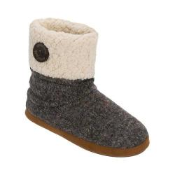 Women's Dearfoams Sparkle Tweed Bootie with Button Cuff Slipper Dark Heather Grey