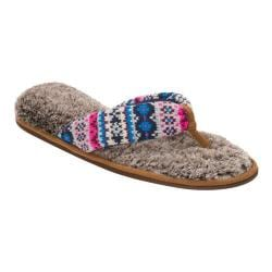 Women's Dearfoams Sweater Knit Thong Slipper with Pile Sock Cool Combo