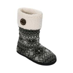 Women's Dearfoams Tall Cable-Fairisle Boot Slipper with Button Grey Multi