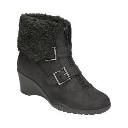 Women's A2 by Aerosoles Music Tor Bootie Black Fabric/Faux Fur