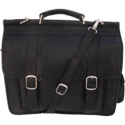 Piel Black Leather European Laptop Briefcase