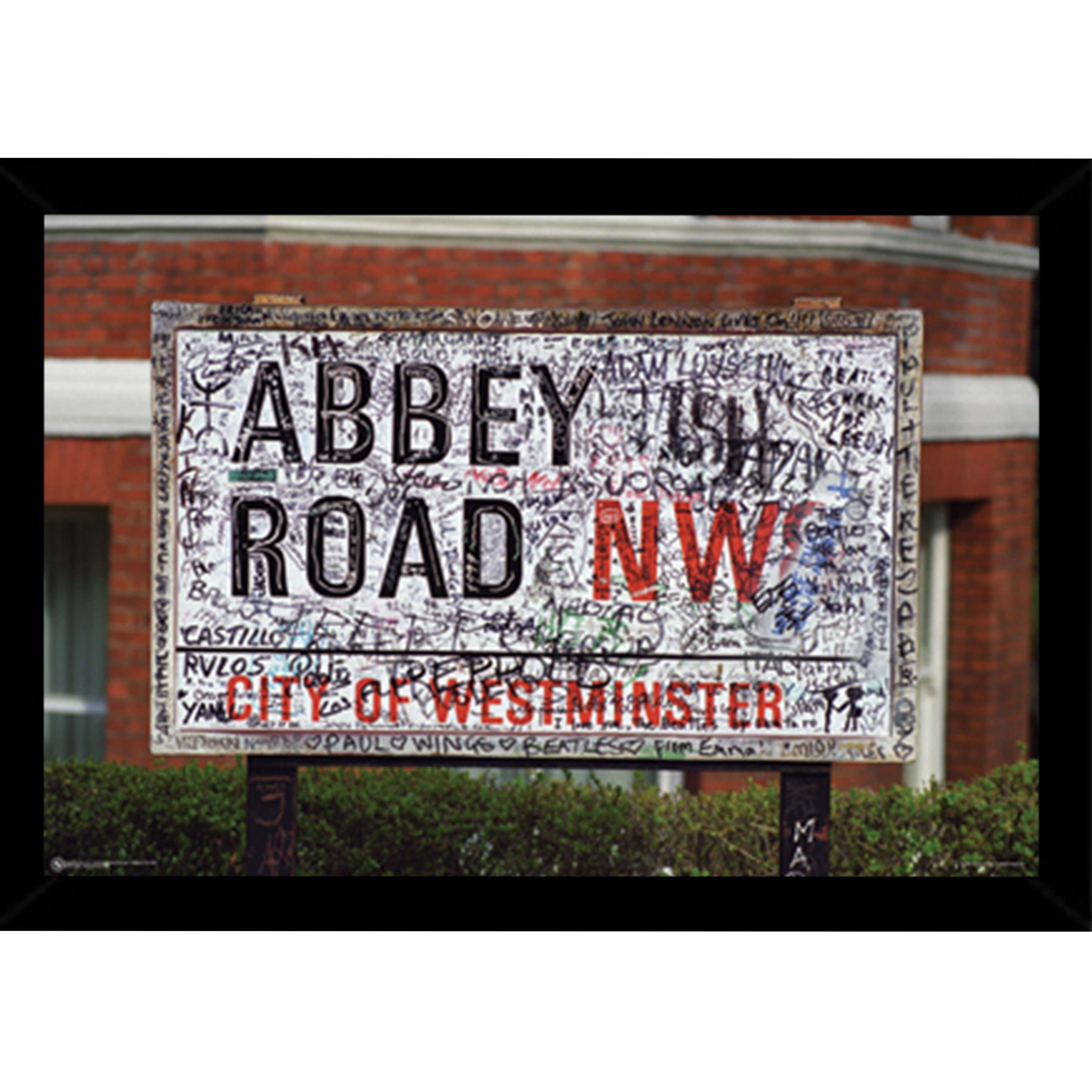 Abbey Road NW8 Print (36-inch x 24-inch) with Traditional Black Frame