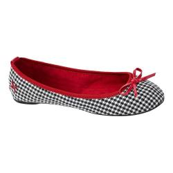 Women's Butterfly Twists Victoria Flat Black/White Houndstooth Textile