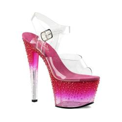 Women's Pleaser Stardust 708-2 Ankle Strap Sandal Clear PVC/Hot Pink Frost