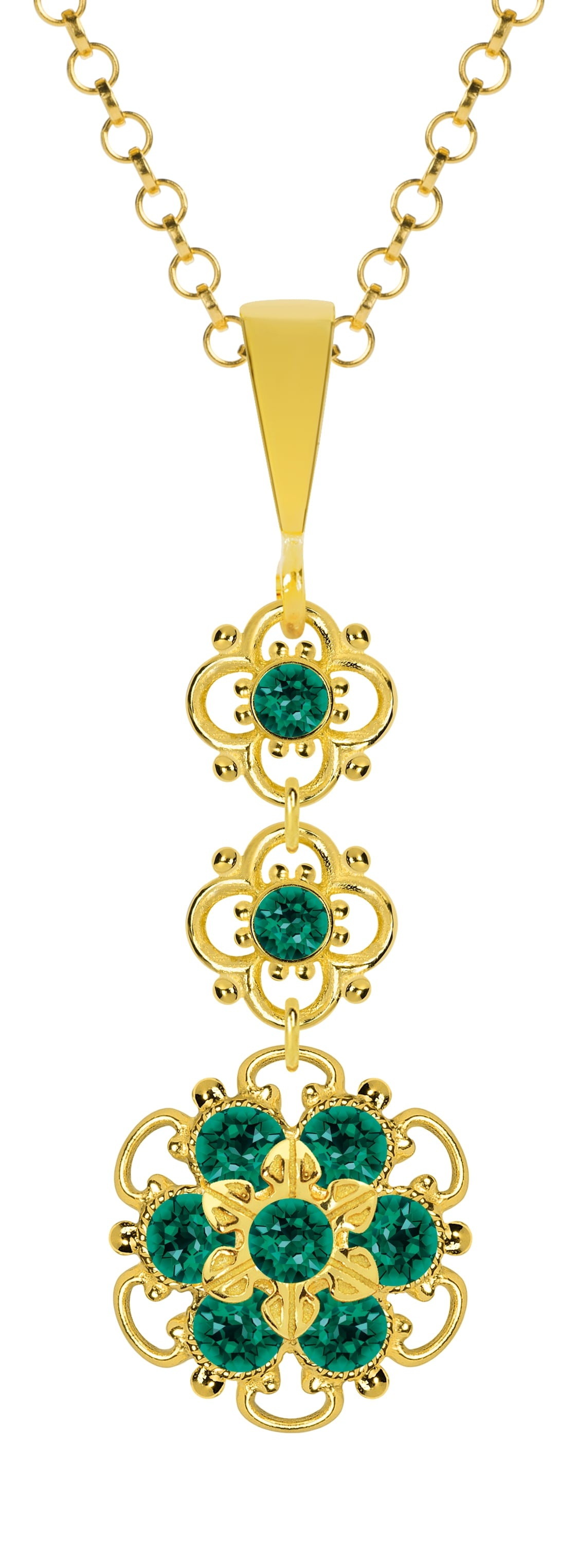 Lucia Costin Sterling Silver Green Crystal Pendant