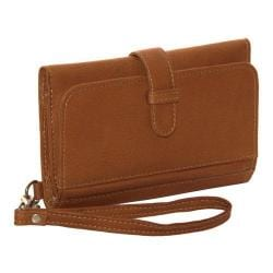 Women's Piel Leather Card Case & Phone Wristlet 3088 Saddle