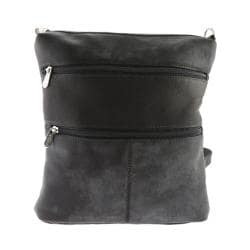 Women's Piel Leather Convertible Multi-Pocket Shoulder Bag/Backpack 305 Black