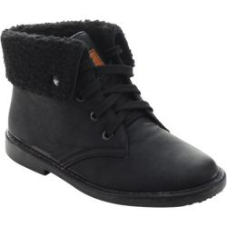 Women's Beston Ease-02 Fold Over Ankle Boot Black Faux Suede/Faux Fur