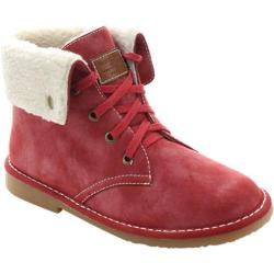 Women's Beston Ease-02 Fold Over Ankle Boot Red Faux Suede/Faux Fur