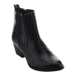 Women's Beston Montana-02 Chelsea Boot Black Faux Leather