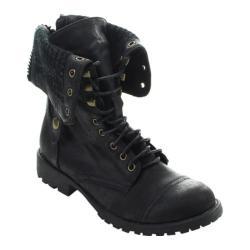 Women's Beston Galaxy-01 Ankle Boot Black Faux Leather/Faux Fur