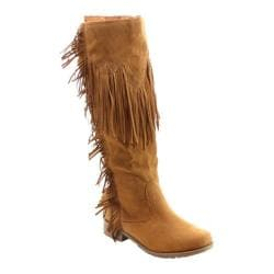 Women's Beston Riley-01 Knee High Boot Tan Faux Suede