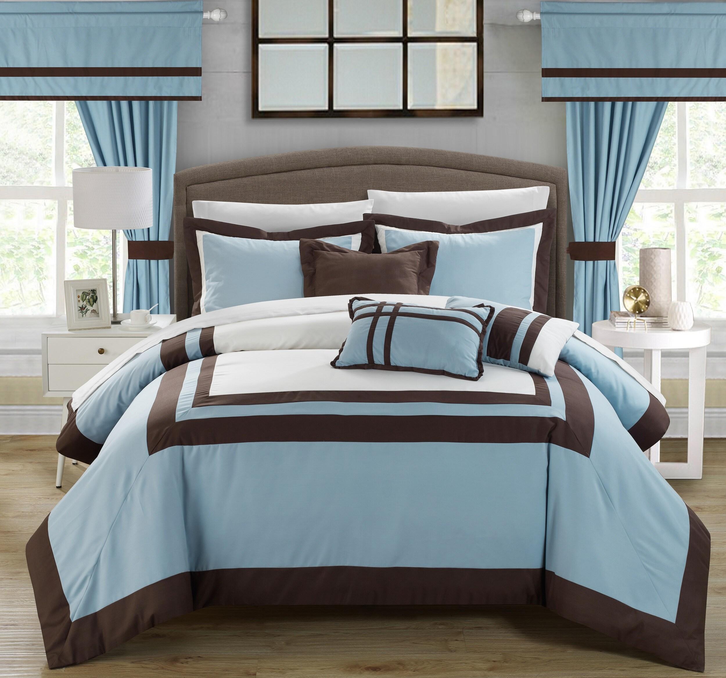 Chic Home 20-piece Christofle-pieced Blue Color Blocked Comforter Set