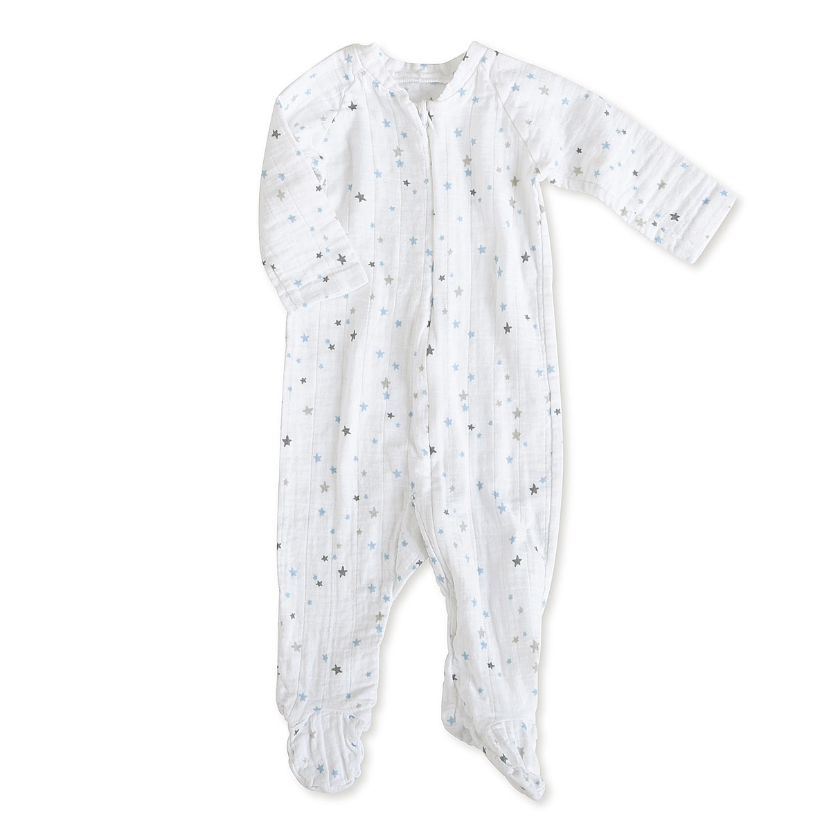 aden + anais Boys 3-6 Months Night Sky Starburst Muslin Long-Sleeve Zip One Piece