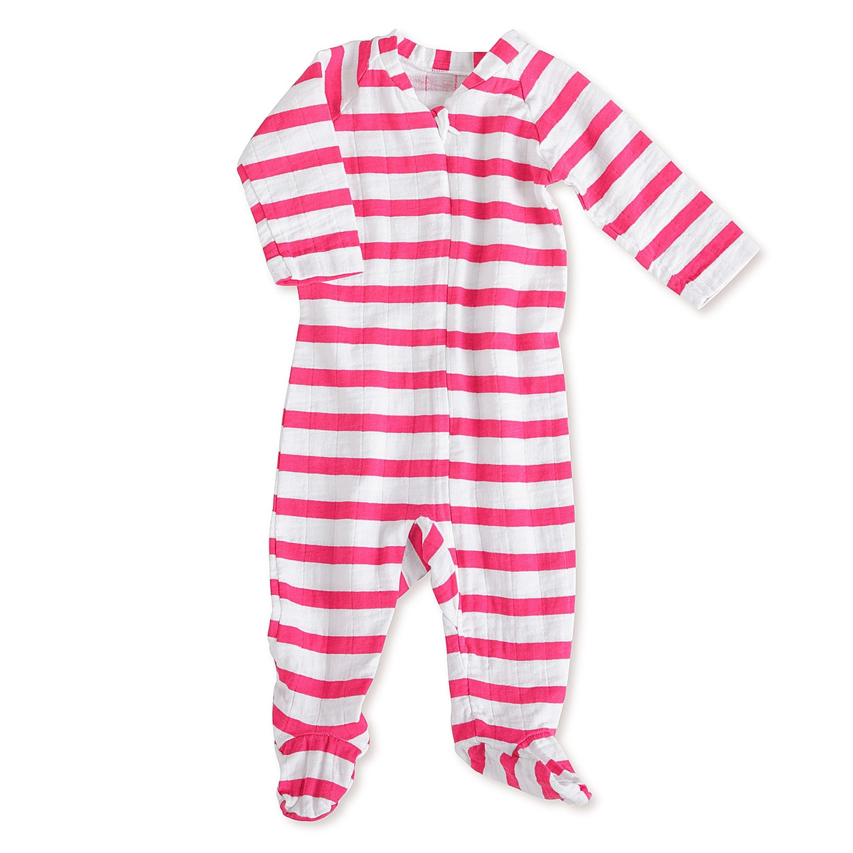 aden + anais Girls 3-6 Months Pink Blazer Stripe Muslin Long-Sleeve Zip One Piece