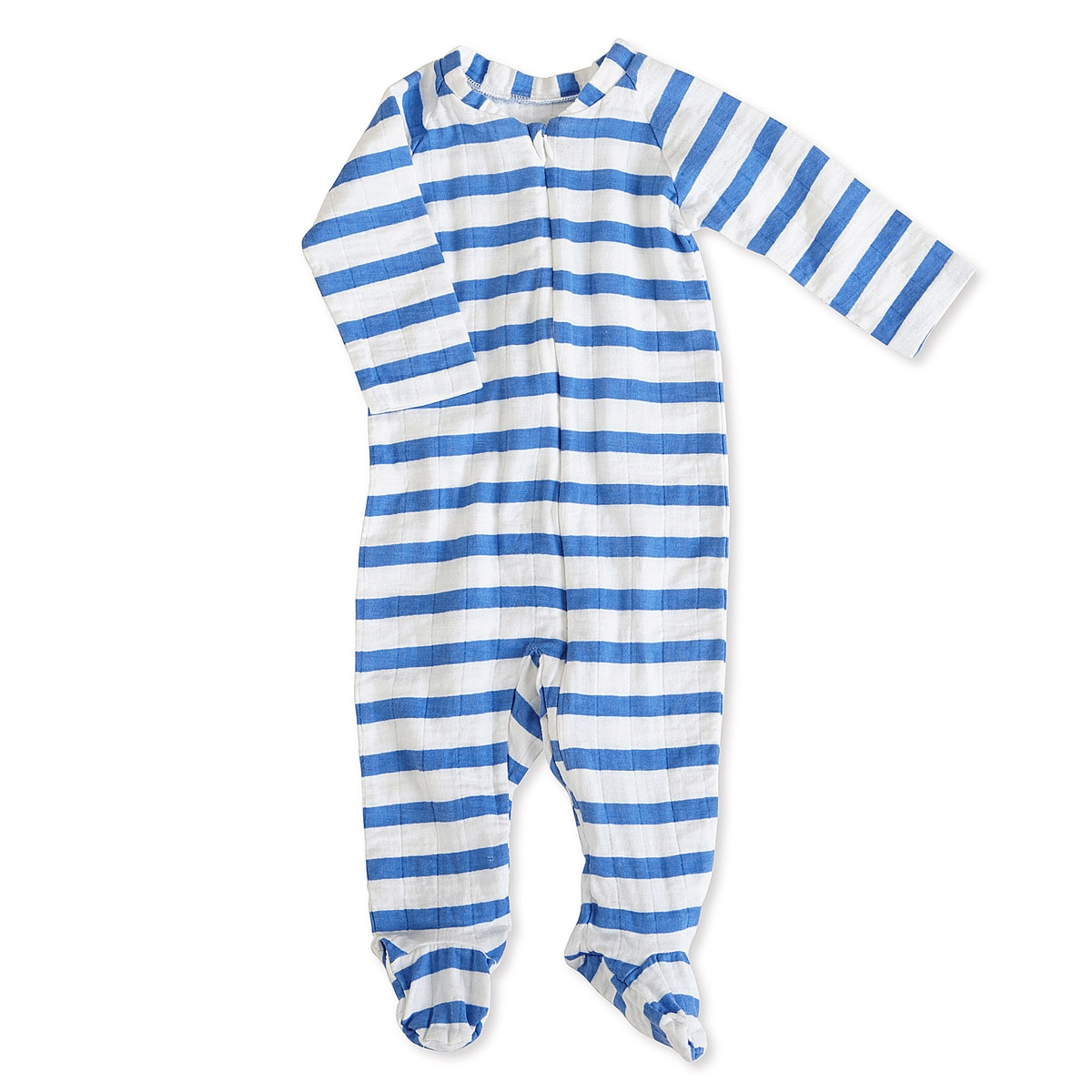 aden + anais Boys 3-6 Months Ultramarine Blazer Stripe Muslin Long-Sleeve Zip One Piece