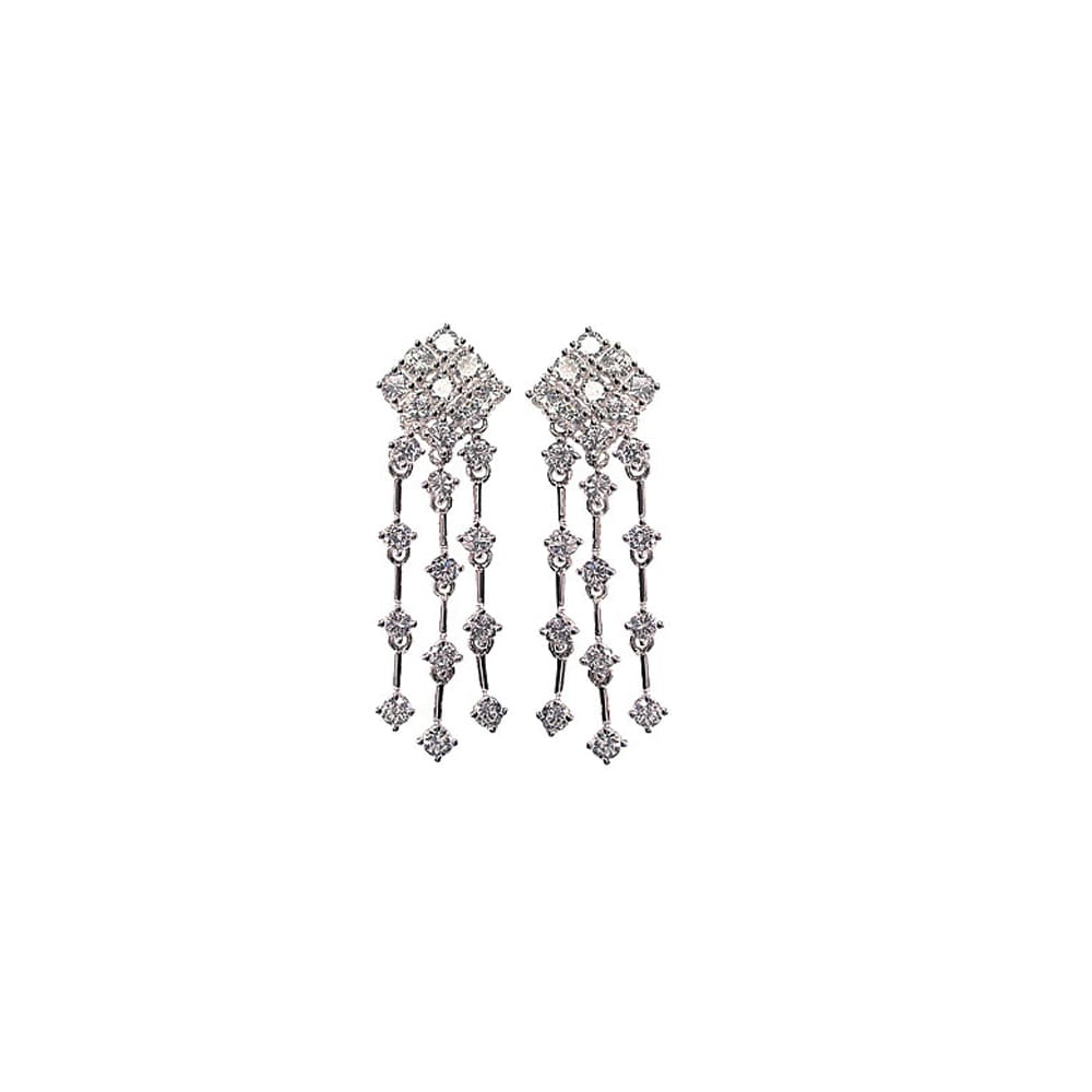 Quality Sterling Silver Brilliant Cubic Zirconia Chandelier Post Earrings