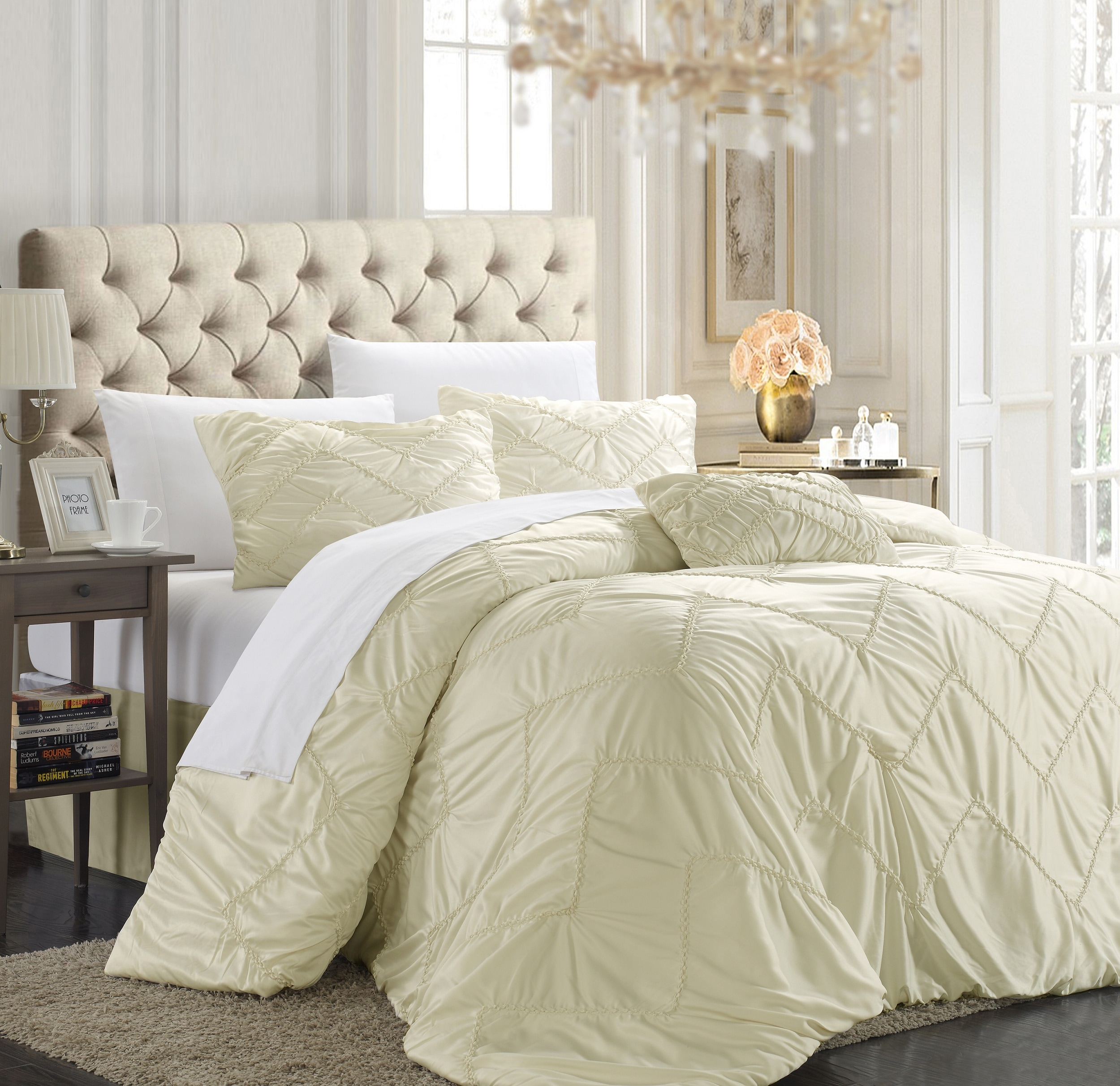 Chic Home Belvia Beige 5-piece Comforter Set