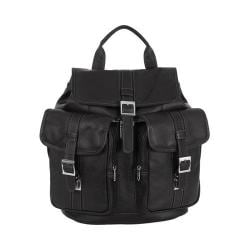 Piel Leather Medium Drawstring Backpack With Two Front Pockets Black
